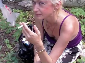 Mature women have a huge sexual apetite and this lewd whore makes no exception. In this amateur video filmed in the forest she takes good care of my t