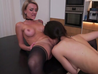 Hot Milf And Her Hairy Young Girlfriend Go Down On Each Other - MatureNL