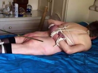 Marked by cane, tied up and naked, Redslave