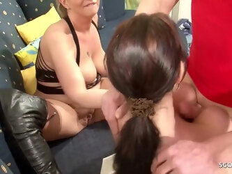 Dirty minded matures are taking turns sucking a hard cock and getting their pussies fucked