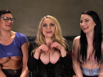 Penny Barber stretches assholes of two of her brunette friends