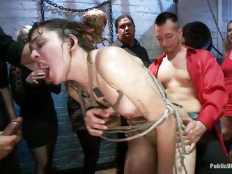 Everybody knows what a fucking whore Bianca and is and how much fun they can have with her. Bianca is tied up in bend over position and she gets fucke