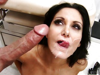 What looks great on a French slut? Especially when she's a hot brunette milf such as Ava. This bitch deserves a big cumload so after ridding her