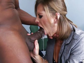 Melissa Rose is a disgusting milf whore who has the urge to wrap her filthy mouth around a giant black penis. She gets her wish and sucks on it until