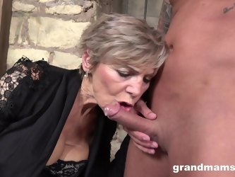 Granny loves to suck a hard dick to feel young again. Amateur