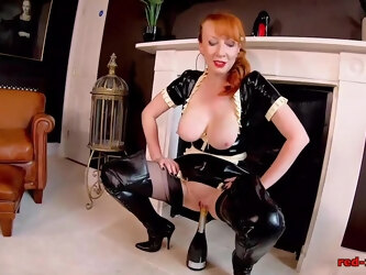 Sexy maid Red XXX fucks a bottle of champagne