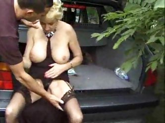 Busty blond granny outdoor fucked