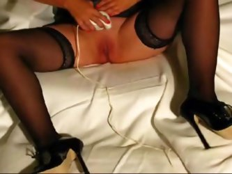 BBW girl in heels and sexy black stockings shaving her pussy with an electric razor and stuffs her cunt with a big toy before her hubby puts in his wh