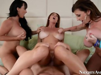 Three horny mommas Charlee Chase,Holly Halston and Sara Jay enjoy in getting their hands on a new dude in the block, Levi Cash and making a nasty four