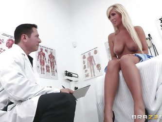 This sexy blonde needs to get checked by her doctor. He tells her to take her clothes off and starts touching her amazing breasts. She gets really hor