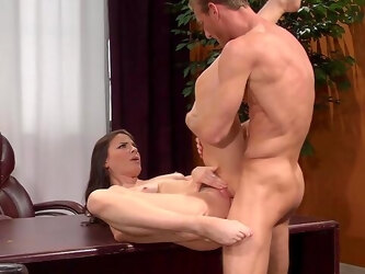 MILF gets laid at the office and swallows sperm like a whore