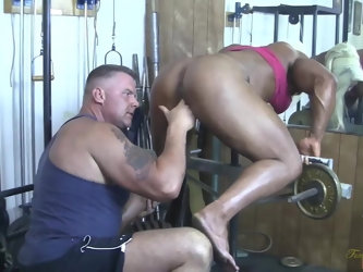 British muscle woman sucks cock, gets fingered