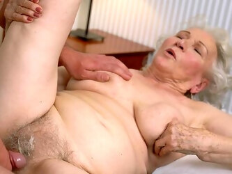 Granny gets the dick in both holes and loves the jizz on face