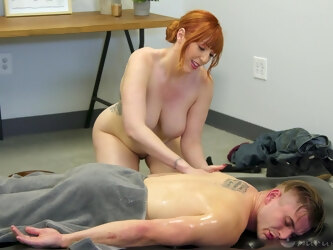 Busty redhead pornstar Lauren Phillips makes her client happy