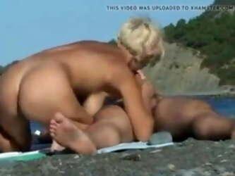 Russian Perfect Mature Blonde Blows Hubby On A Nudist Beach