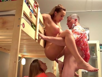 Bitches share the dick in crazy amateur bedroom porn