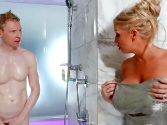 Alura Jenson treats a gent to her huge fun bags and cunt in the shower
