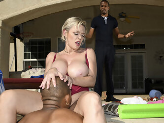 Poolside Anal Fuck With Black Stepson and Curvy Momma