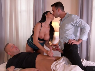 Horny wife Ania Kinski gives head to two guys and gets fucked