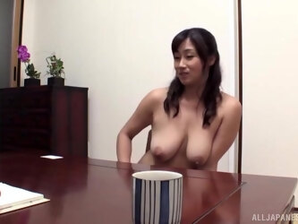 Charming Japnese chick teases with her boobs and gets fucked at home