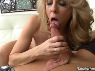 Blonde mom with great apetite for huge cocks seduces young cousin of hers Bill Bailey, making him pound her mouth and lick her tight pussy before fuck