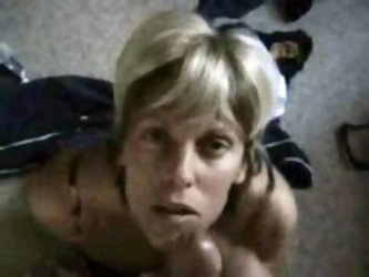 Wonderful blonde mommy plays with her attracting pussy and sucks man's cock with incredible passion.