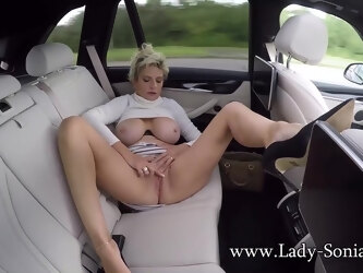 Lady Sonia masturbating in the backseat
