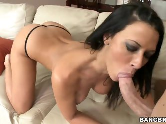 Attractive turned on black haired whorish milf Rachel Starr with huge juicy hooters and big firm ass rubs and fingers her shaved wet minge until she g