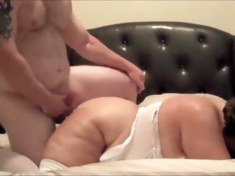 Mature bitch gets a messy cum shot all over her body by her big man. He fucks her snatch deep and hard before he blows his creamy load on her big tits