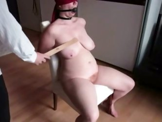 I tied my plump wife to make this nasty fetish video. She just adores getting her big milk cans spanked. Mature slut tried to moan in pleasure, but wa