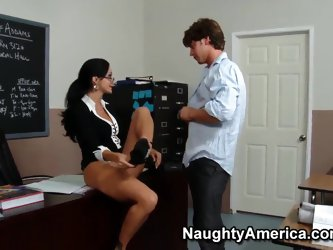 Hot milf teacher Ava Addams gives some sex lessons to her talented student Seth Gamble. She takes her panties off, spreads her legs wide and pulls his