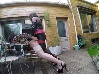 2 shemales fuck in the garden