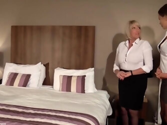 Amy and Tina went to a hotel room to make love all night long, until they cum