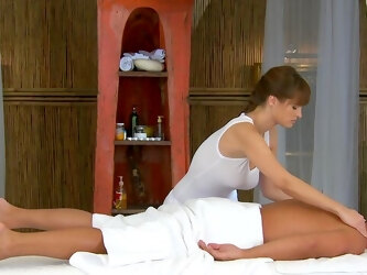 Classy masseuse shows this guy what a real woman can do