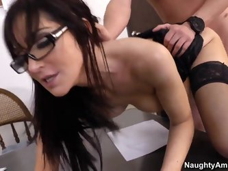 Always horny hot ass mature teacher Diana Prince with huge tits and arousing glasses in stockings and high heels gets her shaved cunt banged hard by D