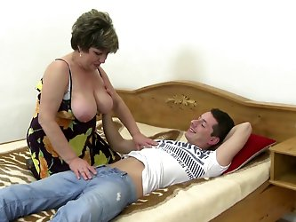 Mature pervert mother wakes up young son