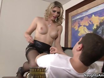 Smoking hot blonde bombshell Cory Chase with dark heavy make up and big firm hooters in expensive lingerie seduces her young rebellious student J Pipe