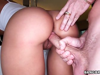 Pretty young and very sexy brunette babe Rachel Starr pleased her boyfriend with deepthroat blowjob and then bent over on the couch and got fucked har