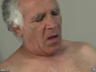 Horny grandpa and young beautiful slut