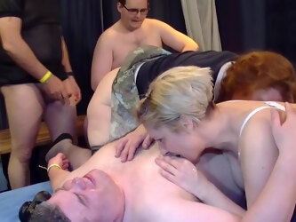 Two Horny German Ladies Get Fucked In Gangbang - MatureNL