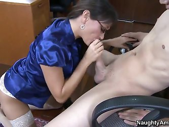 Mature hot brunette teacher Michelle Lay wearing glasses is sucking and fucking the horny and strong dude Xander Corvus after an amazing blowjob he re