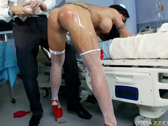 Jewels is a sexy nurse who's going to tease you with her tight asshole as she oils it up. Then she's going to undress for you before Keiran
