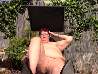 Busty Naked Mature Bbw Smokes In Garden