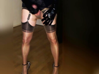 Big tranny cock wanked whilst wearing sheer nylons