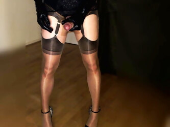 big cock tranny wanks and cums wearing her sheer nylons