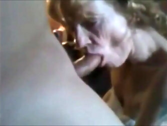 Grandma with a wrinkled face sucks dick and drinks cum