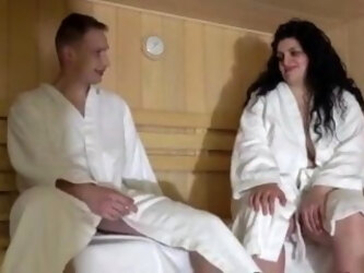 Mom and son in the sauna