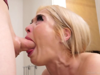 Skinny dude with a long dick gets a sloppy blowjob by Tiffany Fox