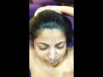 Indian babe escort taking cum in her face