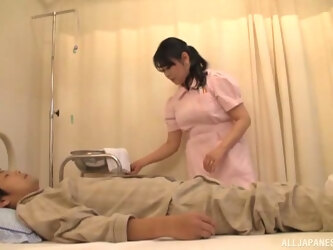 Asian nurse drops her panties to ride a patient's stiff dick